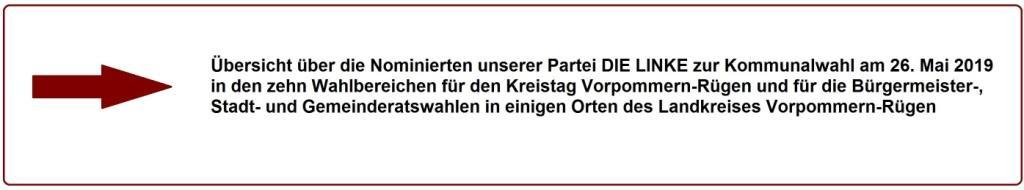 Übersicht über die Nominierten unserer Partei DIE LINKE zur Kommunalwahl am 26. Mai 2019 in den zehn Wahlbereichen für den Kreistag Vorpommern-Rügen  und für die Bürgermeister-, Stadt- und Gemeinderatswahlen in einigen Orten des Landkreises Vorpommern-Rügen