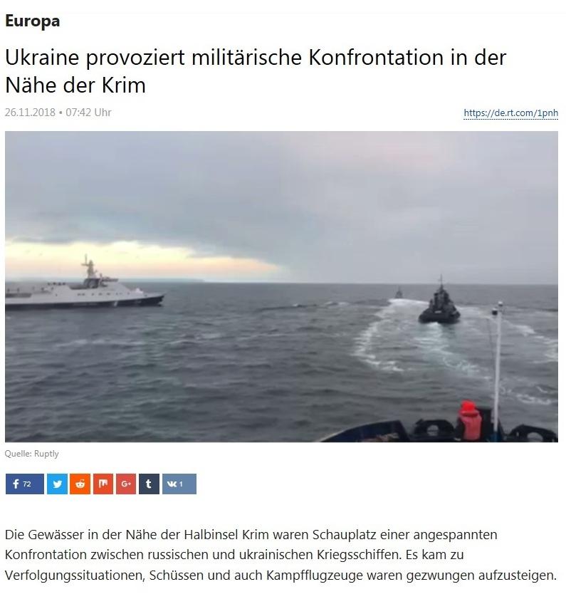 Europa - Ukraine provoziert militärische Konfrontation in der Nähe der Krim