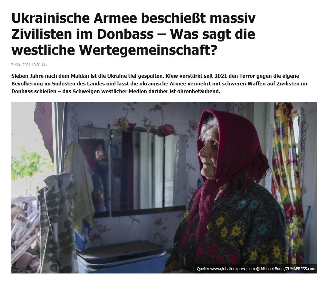 Ukrainische Armee beschießt massiv Zivilisten im Donbass – Was sagt die westliche Wertegemeinschaft? - RT Deutsch - 7 Mär. 2021 10:31 Uhr