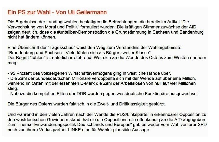 Uli Gellermann | Rationalgalerie.de | Ein PS zur Wahl