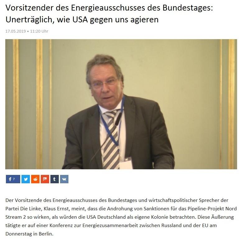 Kurzclips -  Vorsitzender des Energieausschusses des Bundestages: Unerträglich, wie USA gegen uns agieren