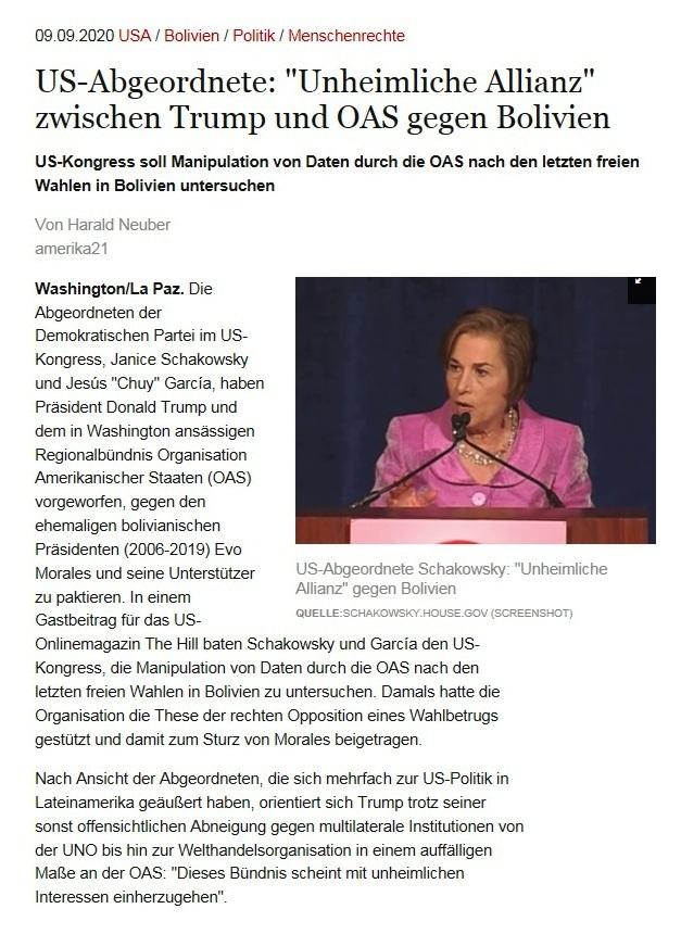 US-Abgeordnete: 'Unheimliche Allianz' zwischen Trump und OAS gegen Bolivien - US-Kongress soll Manipulation von Daten durch die OAS nach den letzten freien Wahlen in Bolivien untersuchen - amerika21 - Nachrichten und Analysen aus Lateinamerika - 09.09.2020