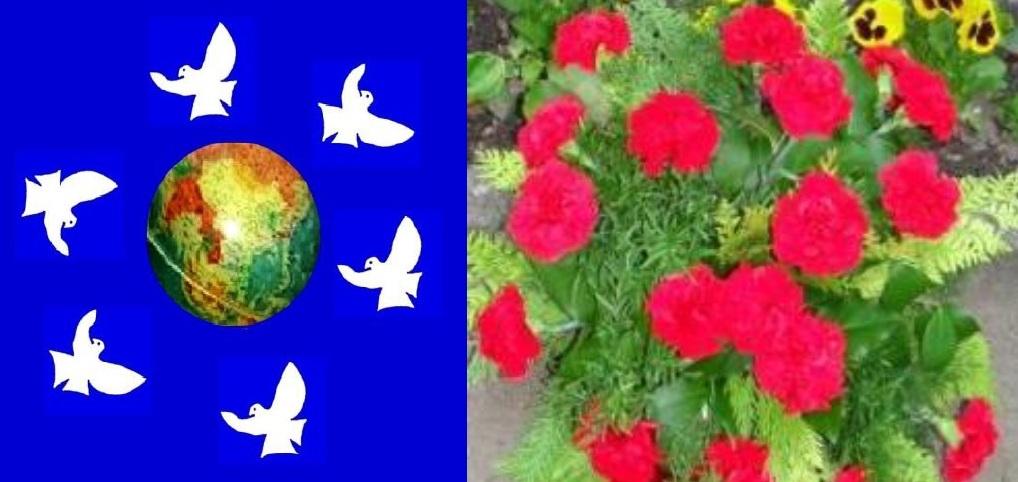 Unser blauer Planet mit Friedenstauben und Blumen da herum! - Für Frieden und Völkerverständigung! Gegen Krieg und Kriegshetze!
