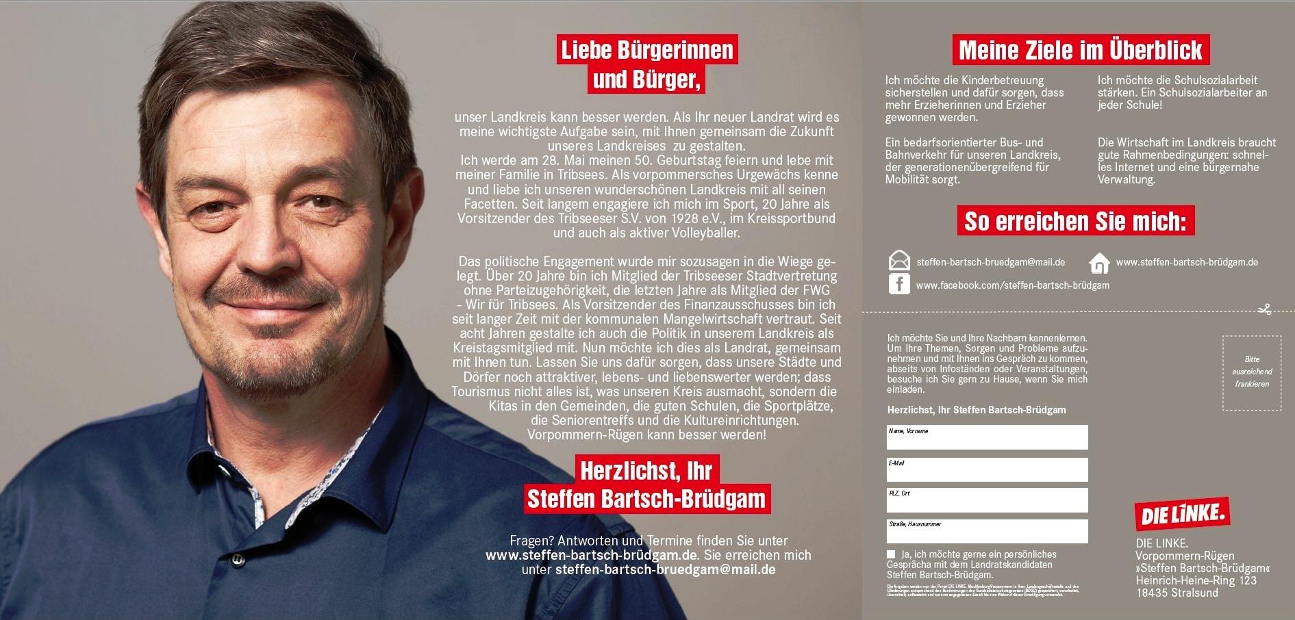 Steffen Bartsch-Brüdgam - unser Kandidat für die Landratswahlen in Vorpommern-Rügen am 27. Mai 2018