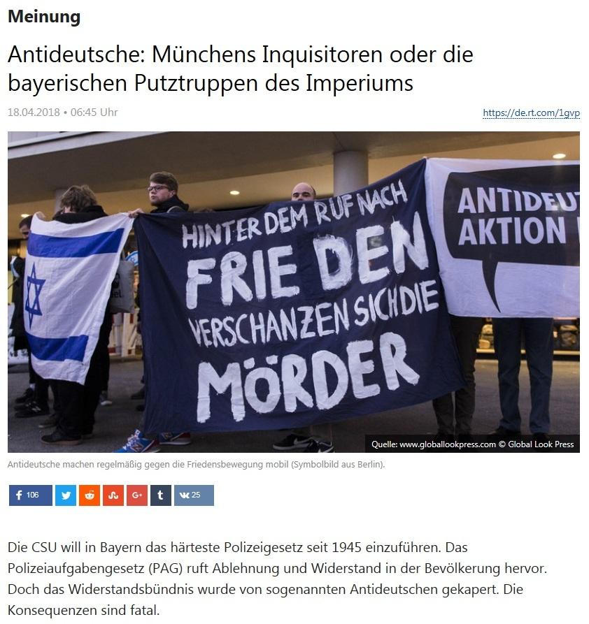 Meinung - Antideutsche: Münchens Inquisitoren oder die bayerischen Putztruppen des Imperiums