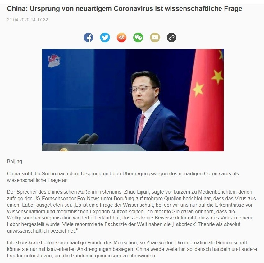 China: Ursprung von neuartigem Coronavirus ist wissenschaftliche Frage - CRI online Deutsch - 21.04.2020
