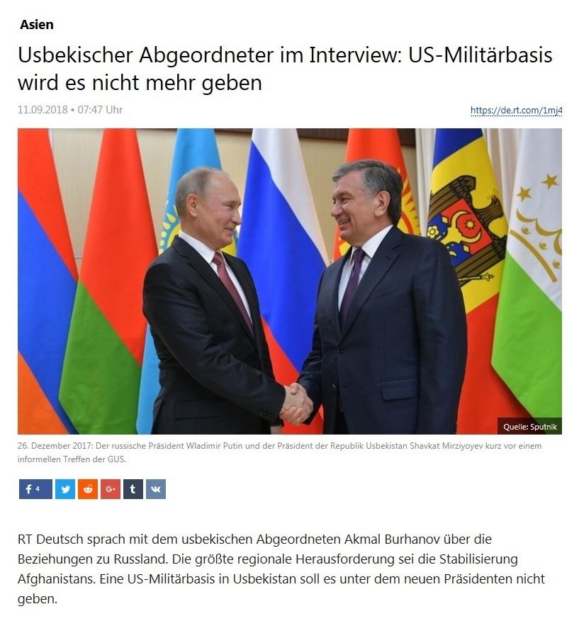 Asien - Usbekischer Abgeordneter im Interview: US-Militärbasis wird es nicht mehr geben
