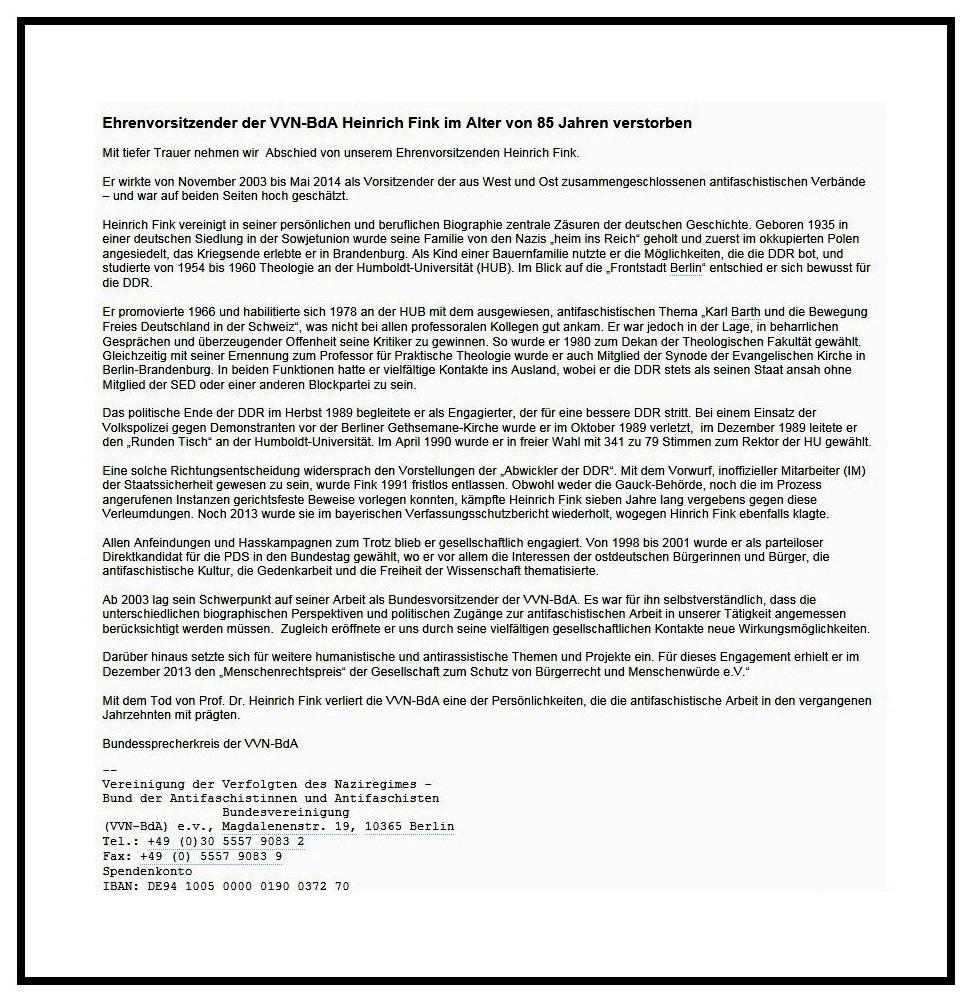 Aus dem Posteingang von Dr. Marianne Linke - weitergeleitete Nachricht von Axel Holz, Bundessprecherkreis der VVN-BdA - Ehrenvorsitzender der VVN-BdA Heinrich Fink im Alter von 85 Jahren verstorben
