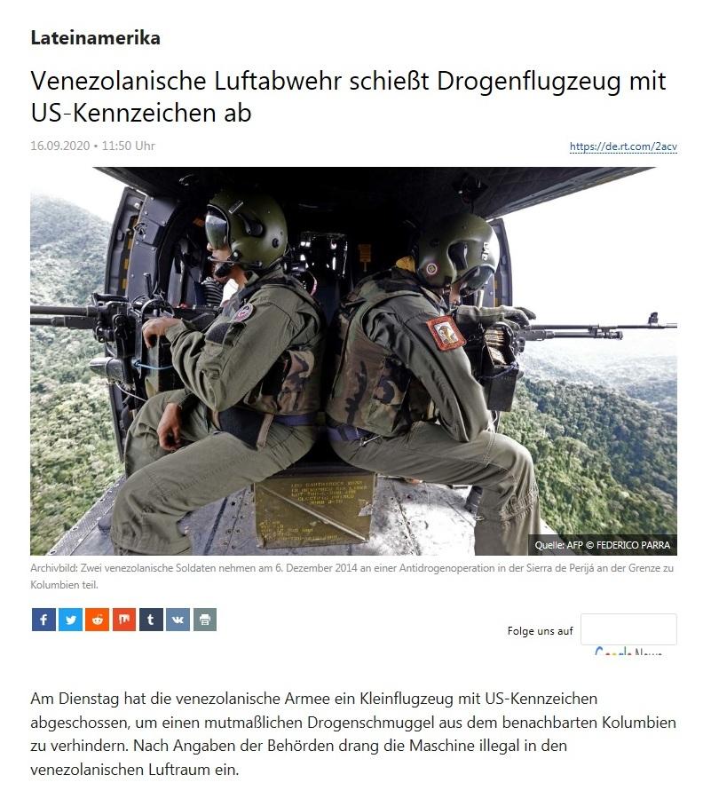Lateinamerika - Venezolanische Luftabwehr schießt Drogenflugzeug mit US-Kennzeichen ab - RT Deutsch - 16.09.2020