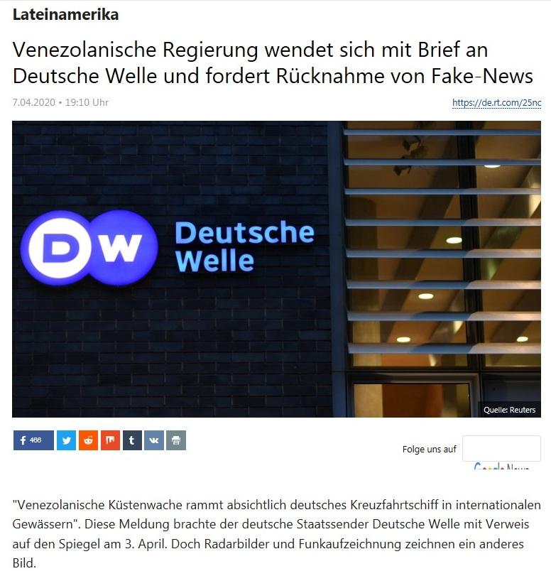 Lateinamerika - Venezolanische Regierung wendet sich mit Brief an Deutsche Welle und fordert Rücknahme von Fake-News - RT Deutsch - 7.04.2020