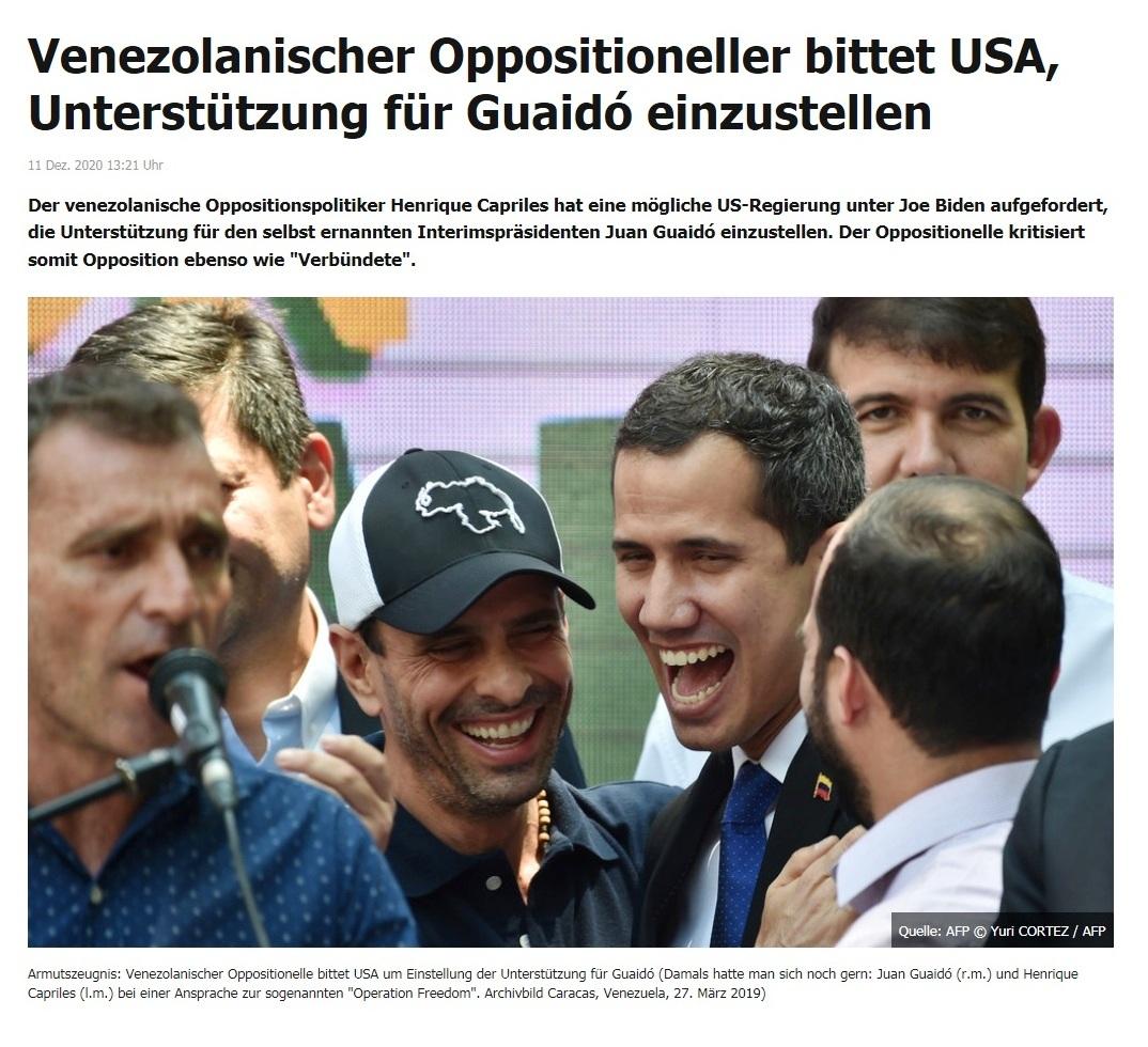 Venezolanischer Oppositioneller bittet USA, Unterstützung für Guaidó einzustellen - RT DE - 11 Dez. 2020 13:21 Uhr