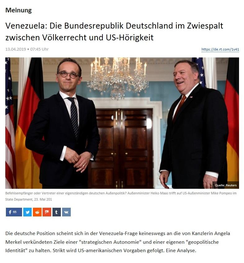 Meinung - Venezuela: Die Bundesrepublik Deutschland im Zwiespalt zwischen Völkerrecht und US-Hörigkeit