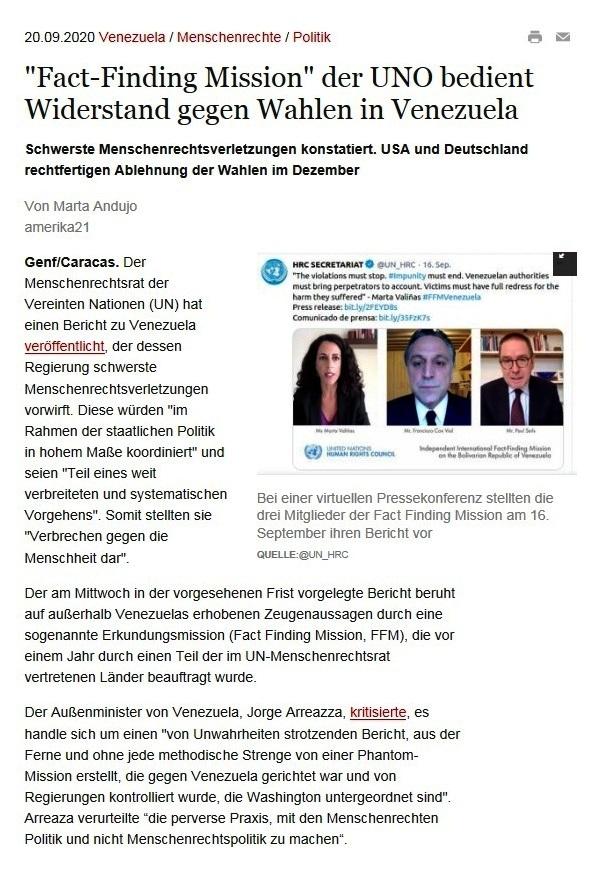 'Fact-Finding Mission' der UNO bedient Widerstand gegen Wahlen in Venezuela - amerika21 - Nachrichten und Analysen aus Lateinamerika - 20.09.2020
