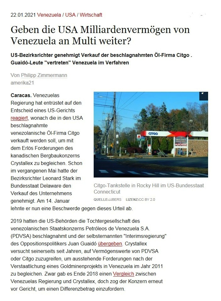 Geben die USA Milliardenvermögen von Venezuela an Multi weiter? - US-Bezirksrichter genehmigt Verkauf der beschlagnahmten Öl-Firma Citgo . Guaidó-Leute 'vertreten' Venezuela im Verfahren - Von Philipp Zimmermann - amerika21 - Nachrichten und Analysen aus Lateinamerika - 22.01.2021