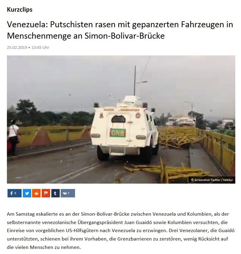 Kurzclips - Venezuela: Putschisten rasen mit gepanzerten Fahrzeugen in Menschenmenge an Simon-Bolivar-Brücke