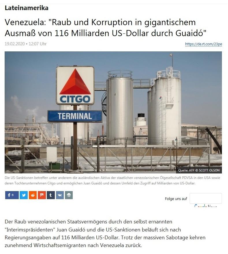 Lateinamerika - Venezuela: 'Raub und Korruption in gigantischem Ausmaß von 116 Milliarden US-Dollar durch Guaidó'