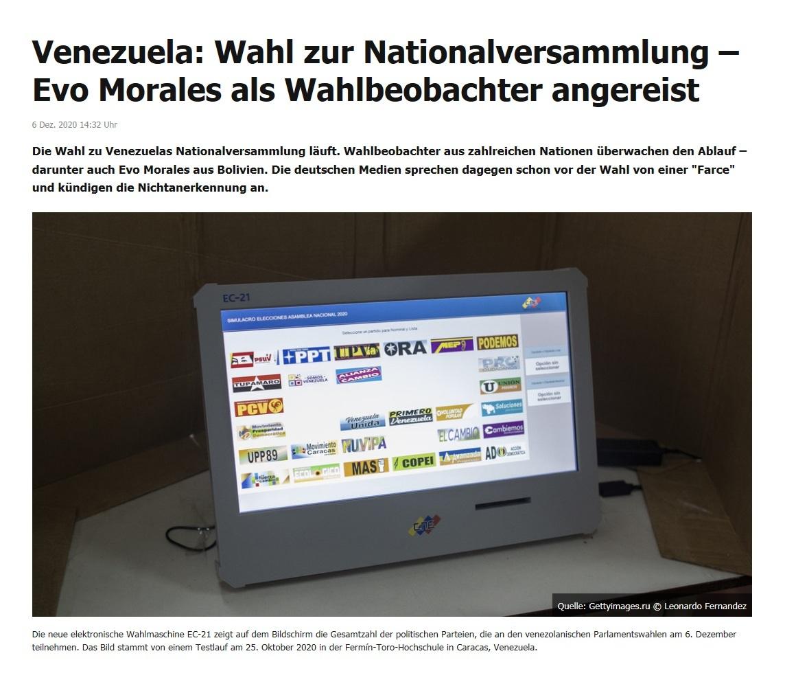 Venezuela: Wahl zur Nationalversammlung – Evo Morales als Wahlbeobachter angereist - RT DE - 6. Dez. 2020 14:32 Uhr