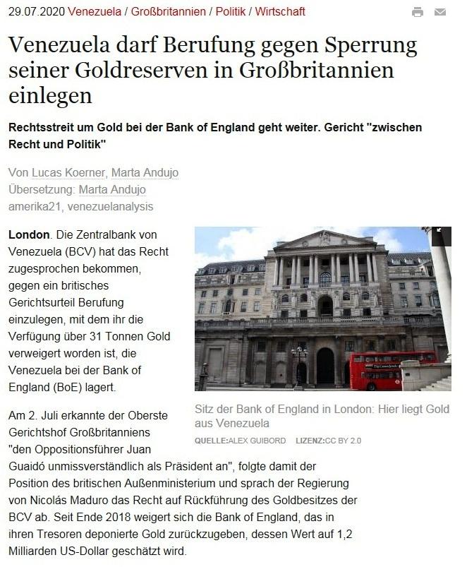 Venezuela darf Berufung gegen Sperrung seiner Goldreserven in Großbritannien einlegen - amerika21 - Nachrichten und Analysen aus Lateinamerika - 29.07.2020