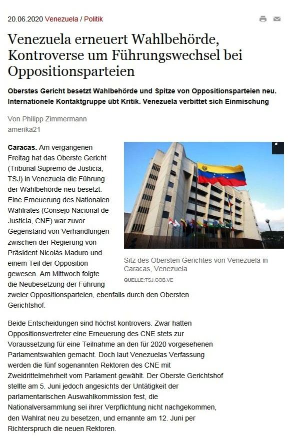 Venezuela erneuert Wahlbehörde, Kontroverse um Führungswechsel bei Oppositionsparteien - Oberstes Gericht besetzt Wahlbehörde und Spitze von Oppositionsparteien neu. Internationele Kontaktgruppe übt Kritik. Venezuela verbittet sich Einmischung - amerika21 - Nachrichten und Analysen aus Lateinamerika - 20.06.2020