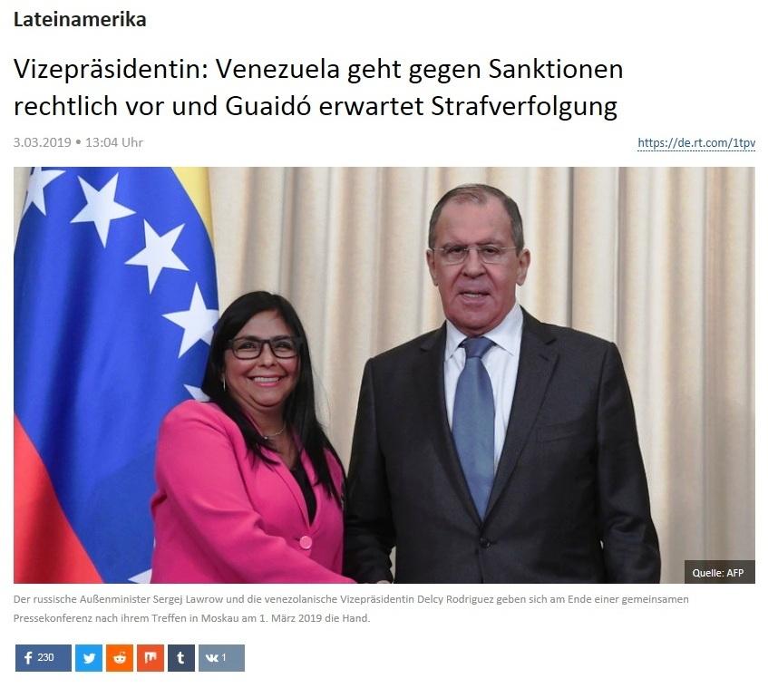 Lateinamerika - Vizepräsidentin: Venezuela geht gegen Sanktionen rechtlich vor und Guaidó erwartet Strafverfolgung