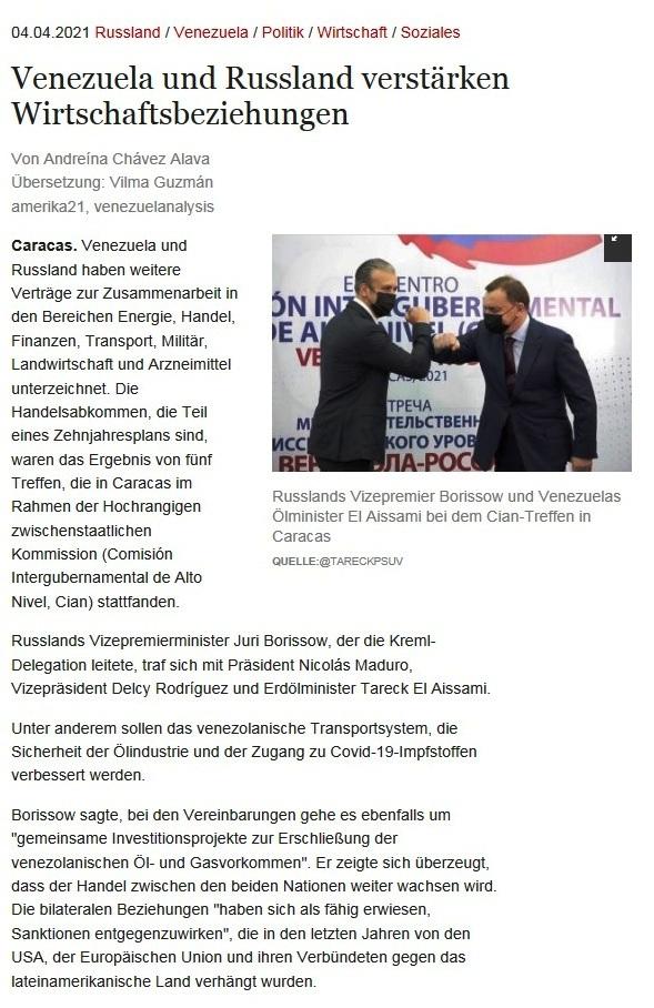 Venezuela und Russland verstärken Wirtschaftsbeziehungen - Von Andreína Chávez Alava - Übersetzung: Vilma Guzmán - amerika21, venezuelanalysis - amerika21 - Nachrichten und Analysen aus Lateinamerika - 04.04.2021