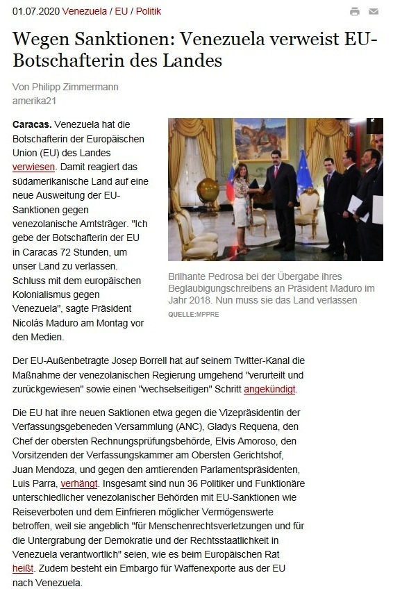 Wegen Sanktionen: Venezuela verweist EU-Botschafterin des Landes - amerika21 - Nachrichten und Analysen aus Lateinamerika - 01.07.2020