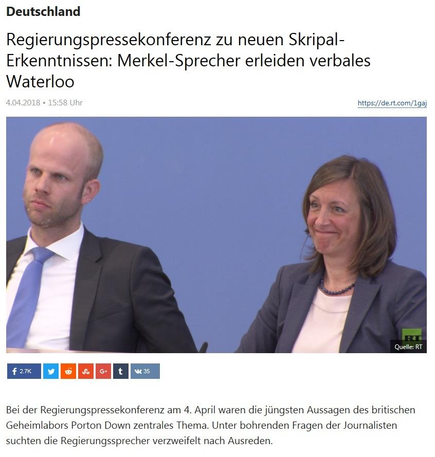 Deutschland - Regierungspressekonferenz zu neuen Skripal-Erkenntnissen: Merkel-Sprecher erleiden verbales Waterloo