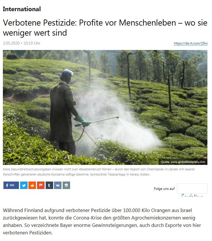 International - Verbotene Pestizide: Profite vor Menschenleben – wo sie weniger wert sind - RT Deutsch - 02.05.2020