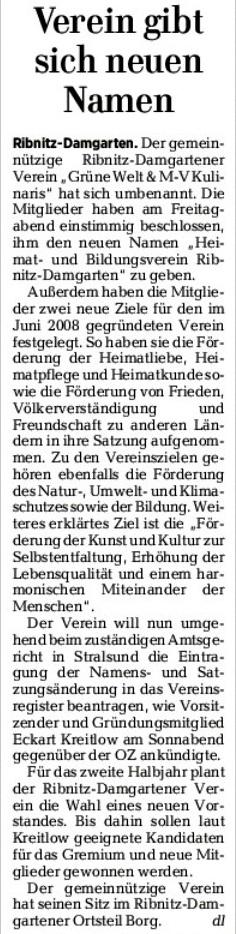 Verein gibt sich neuen Namen - Beitrag in der Ostsee-Zeitung Ribnitz-Damgarten | 15. Mai 2017 | Seite 9 - Gemeinnütziger Heimat- und Bildungsverein Ribnitz-Damgarten e. V.