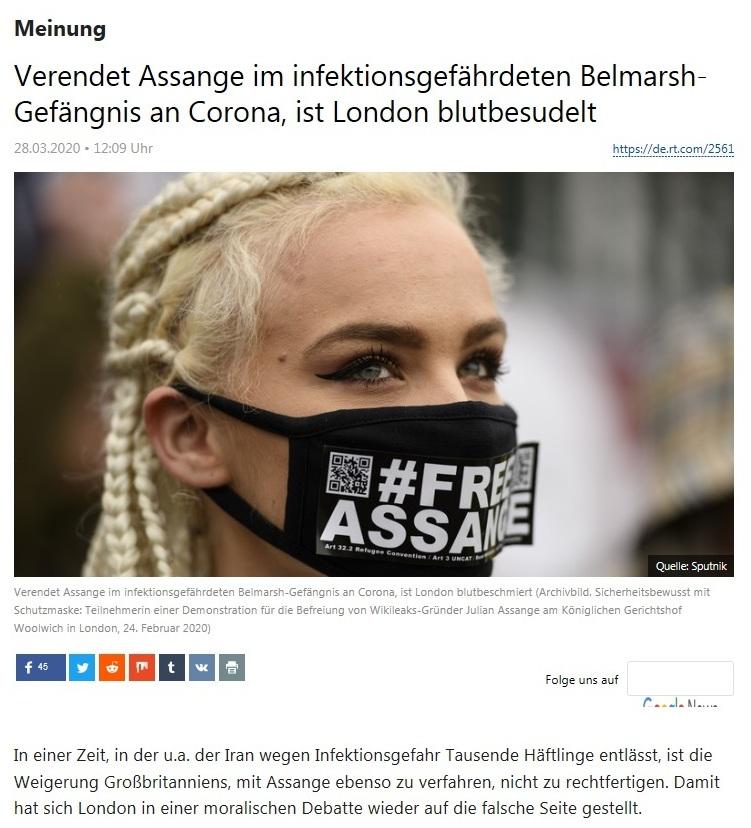 Meinung - London hat Blut an den Händen, sollte Assange im Belmarsh-Gefängnis an Corona sterben  - RT Deutsch - 28.03.2020