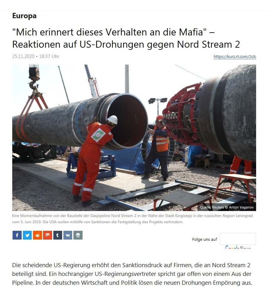 Europa - 'Mich erinnert dieses Verhalten an die Mafia' – Reaktionen auf US-Drohungen gegen Nord Stream 2  - RT Deutsch - 25.11.2020