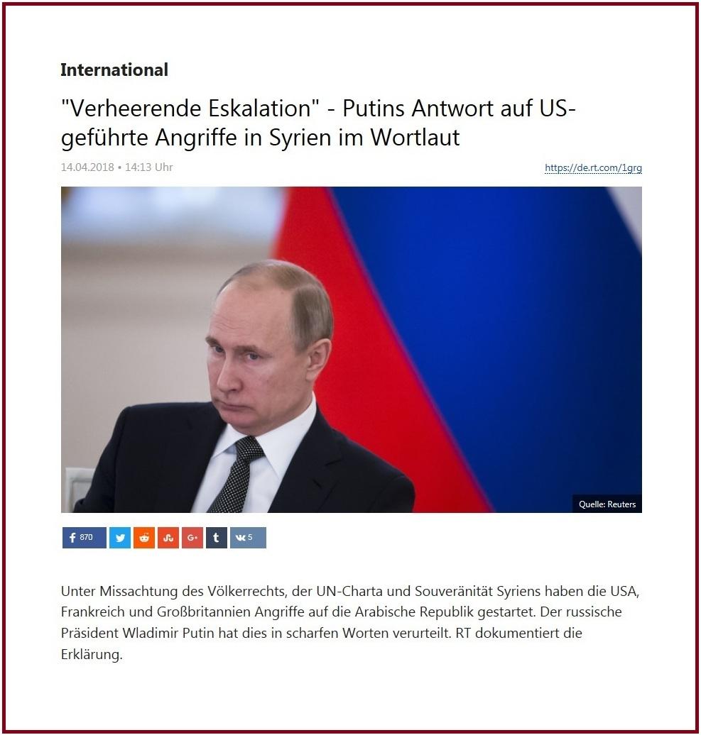 International - 'Verheerende Eskalation' - Putins Antwort auf US-geführte Angriffe in Syrien im Wortlaut