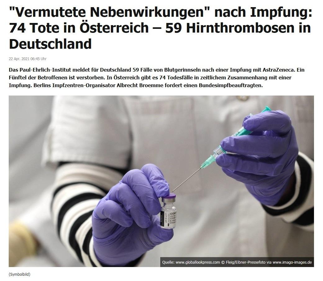 'Vermutete Nebenwirkungen' nach Impfung: 74 Tote in Österreich – 59 Hirnthrombosen in Deutschland -  RT DE - 22 Apr. 2021 06:45 Uhr