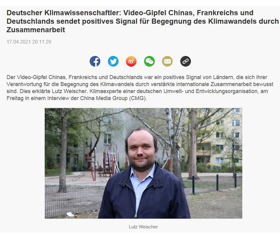 Deutscher Klimawissenschaftler: Video-Gipfel Chinas, Frankreichs und Deutschlands sendet positives Signal für Begegnung des Klimawandels durch Zusammenarbeit - CRI online Deutsch - 17.04.2021 20:11:29