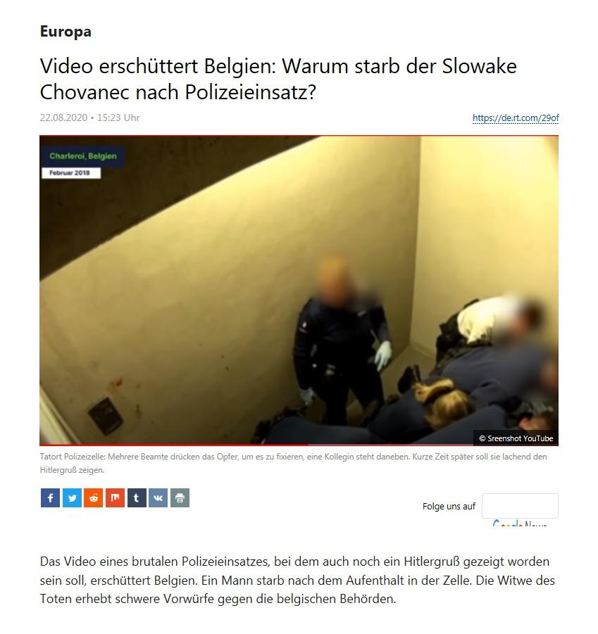 Europa - Video erschüttert Belgien: Warum starb der Slowake Chovanec nach Polizeieinsatz?  - RT Deutsch - 22.08.2020