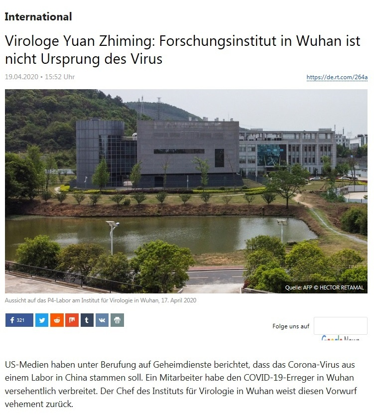 International - Virologe Yuan Zhiming: Forschungsinstitut in Wuhan ist nicht Ursprung des Virus  - RT Deutsch - 19.04.2020