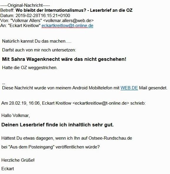 Aus dem Posteingang - Email von Volkmar Allers aus Frauendorf, Landkreis Vorpommern-Rügen, an Ostsee-Rundschau.de - Frage und Antwort zu seinem Leserbrief an die OZ
