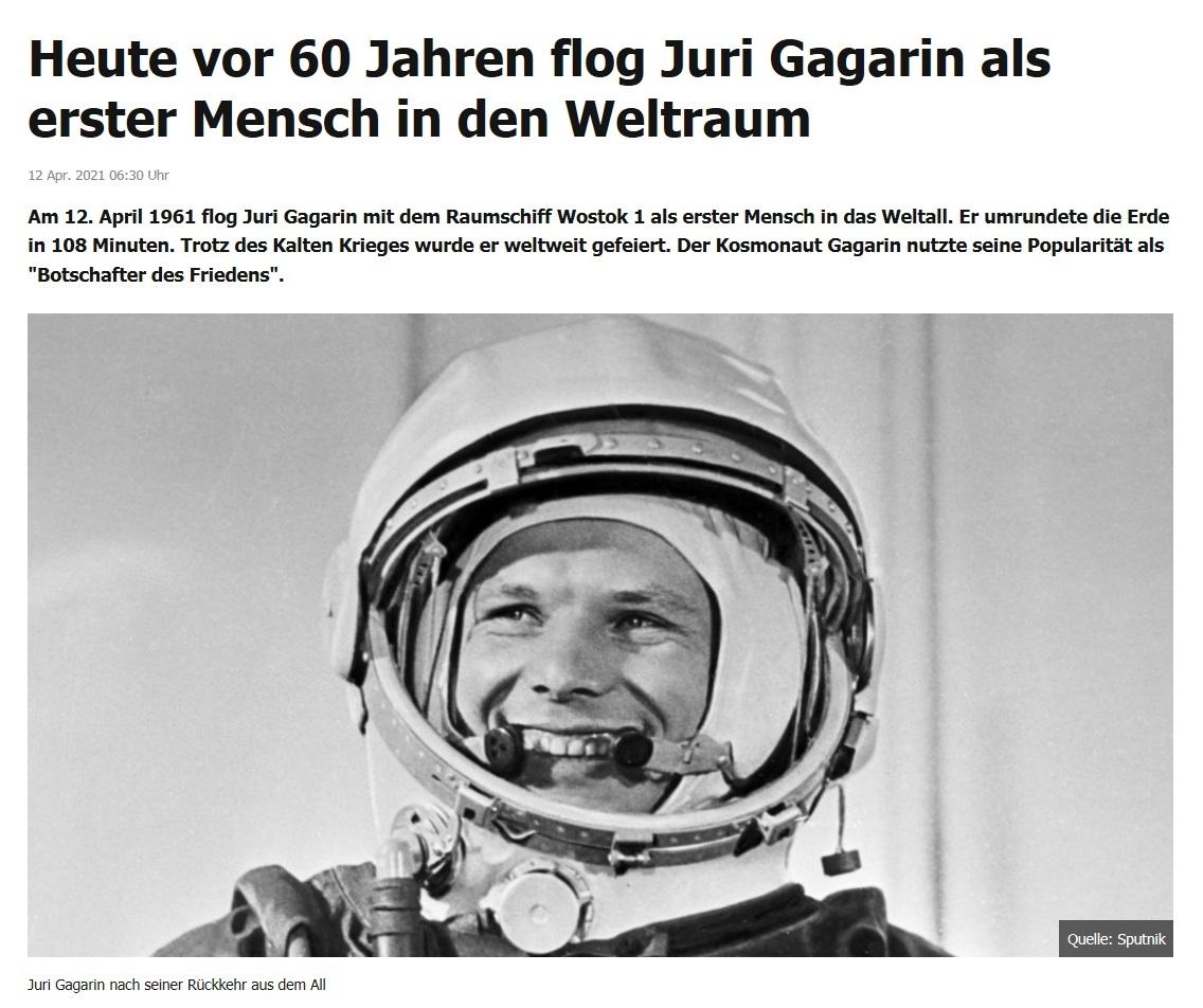 Heute vor 60 Jahren flog Juri Gagarin als erster Mensch in den Weltraum - RT DE - 12 Apr. 2021 06:30 Uhr