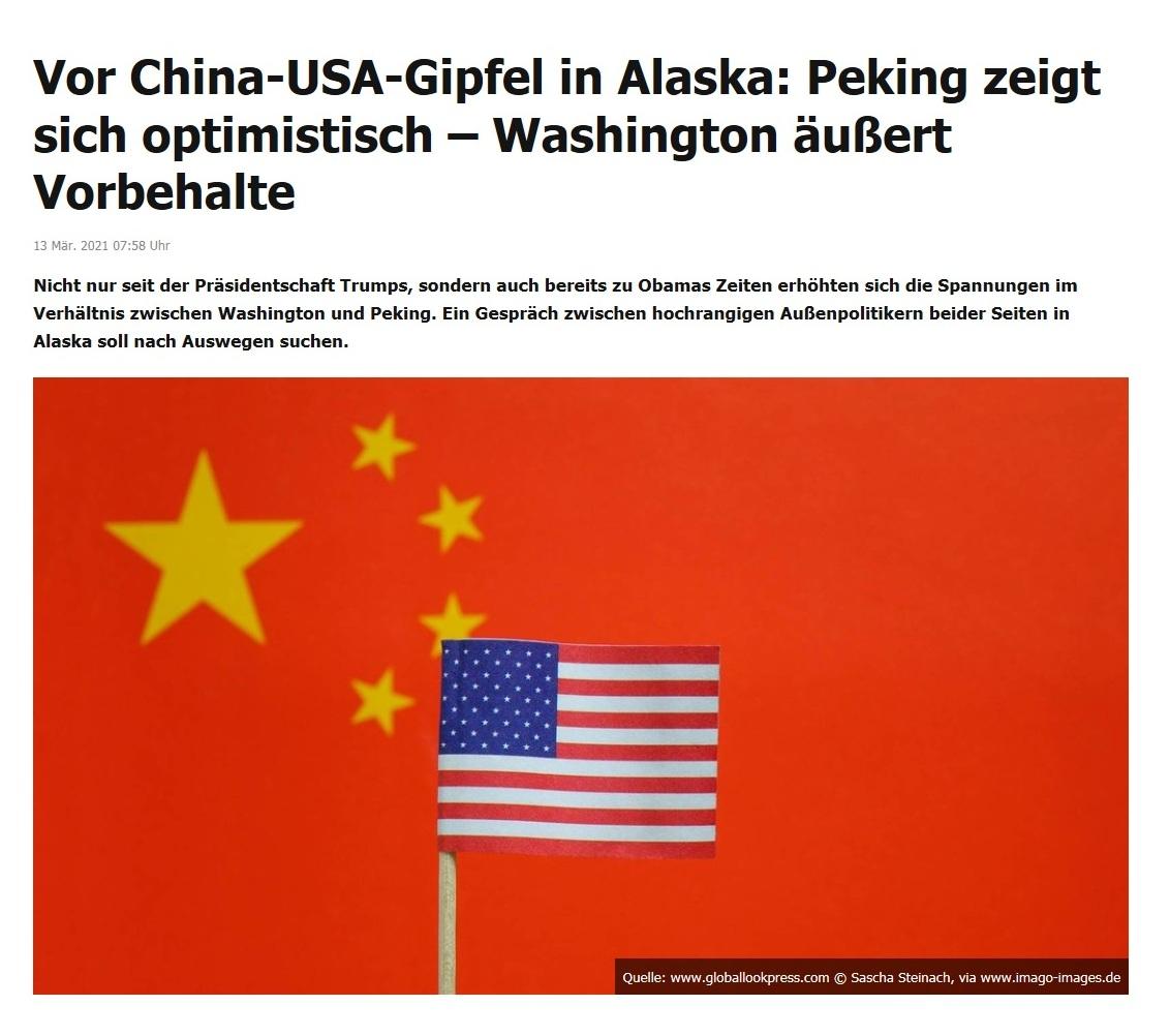Vor China-USA-Gipfel in Alaska: Peking zeigt sich optimistisch – Washington äußert Vorbehalte -  RT DE - 13 Mär. 2021 07:58 Uhr