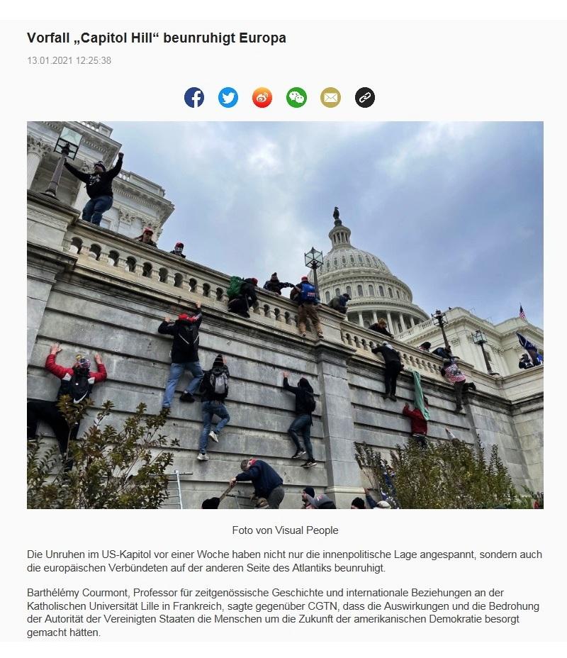 "Vorfall ""Capitol Hill"" beunruhigt Europa - CRI online Deutsch -  13.01.2021 12:25:38"