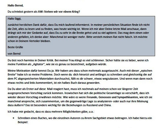 Vorschlag zur Zusammenarbeit - Aus dem Posteingang von Siegfried Dienel vom 15.02.2021 - Abschnitt 1 von 5 Abschnitten