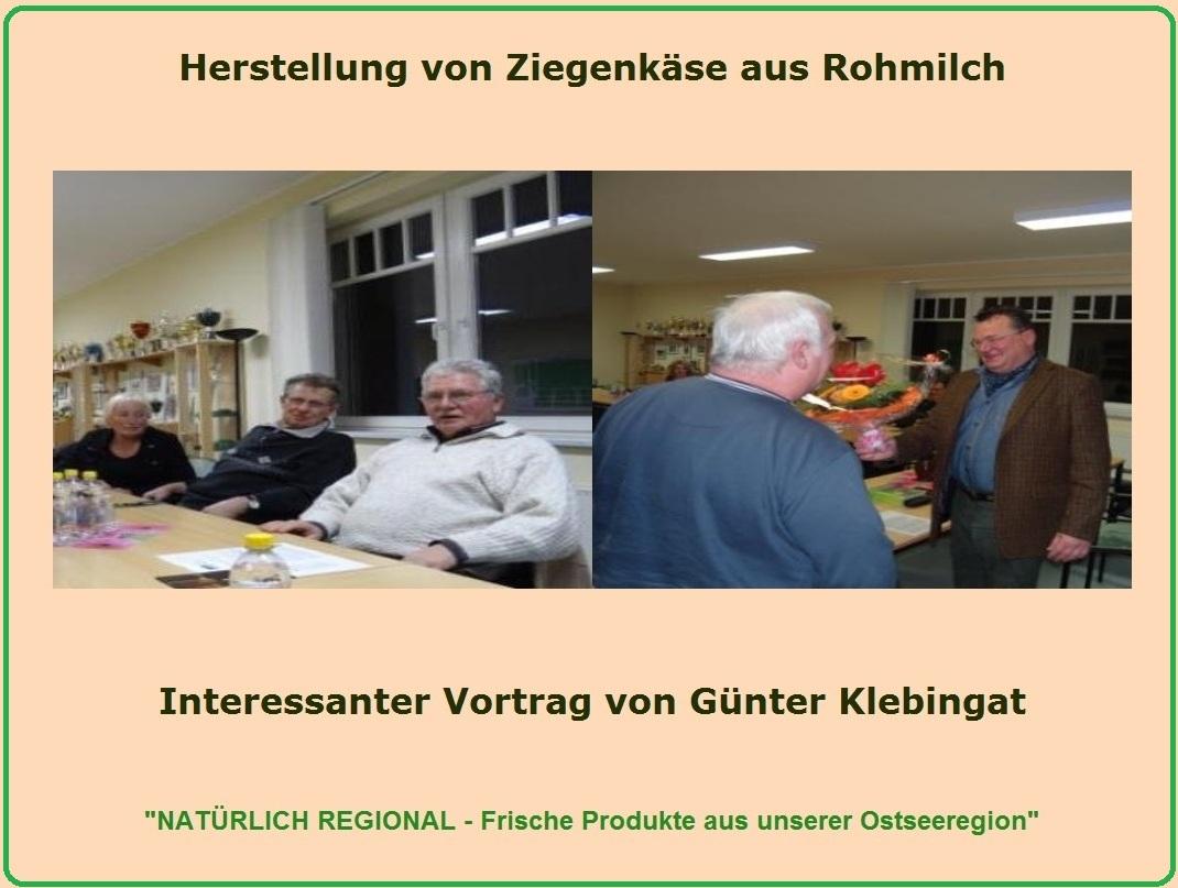 Bilder von dem sehr interessanten Vortrag von und mit Herrn Günter Klebingat vom Ziegenhof Palmzin zu dem Thema Herstellung von Ziegenkäse aus Rohmilch am 25.November 2011 in den Räumlichkeiten am Stadion am Bodden in Ribnitz-Damgarten. Foto: Eckart Kreitlow