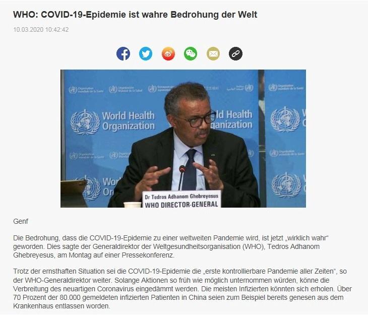 WHO: COVID-19-Epidemie ist wahre Bedrohung der Welt - China Radio International - CRI online Deutsch -  10.03.2020