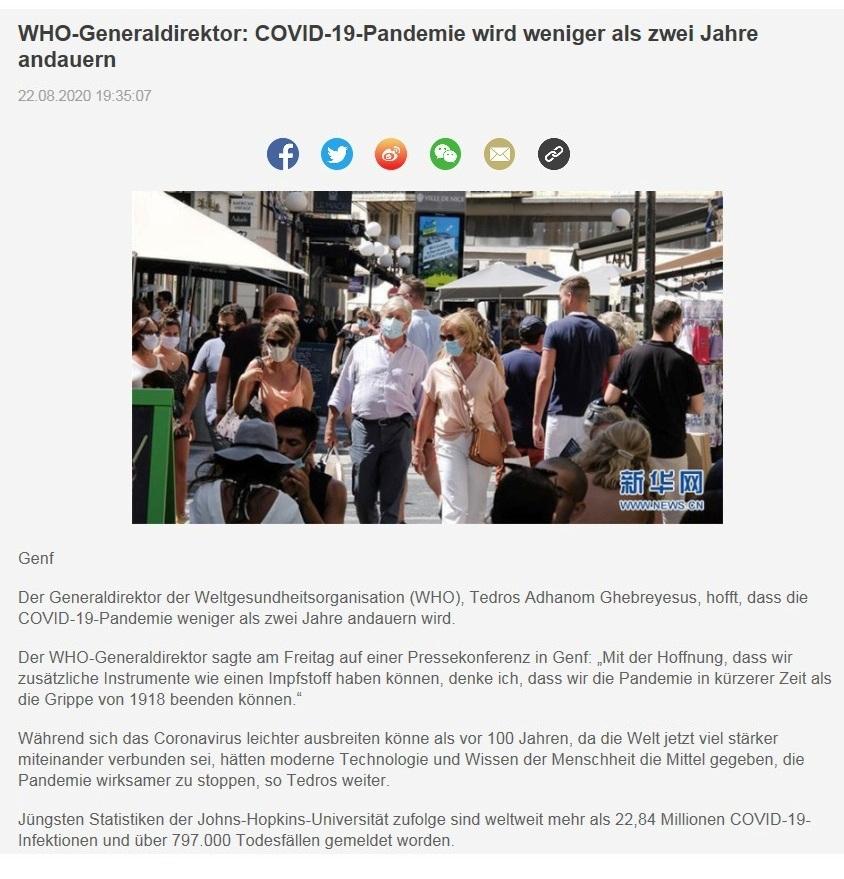 WHO-Generaldirektor: COVID-19-Pandemie wird weniger als zwei Jahre andauern - CRI online Deutsch - 22.08.2020