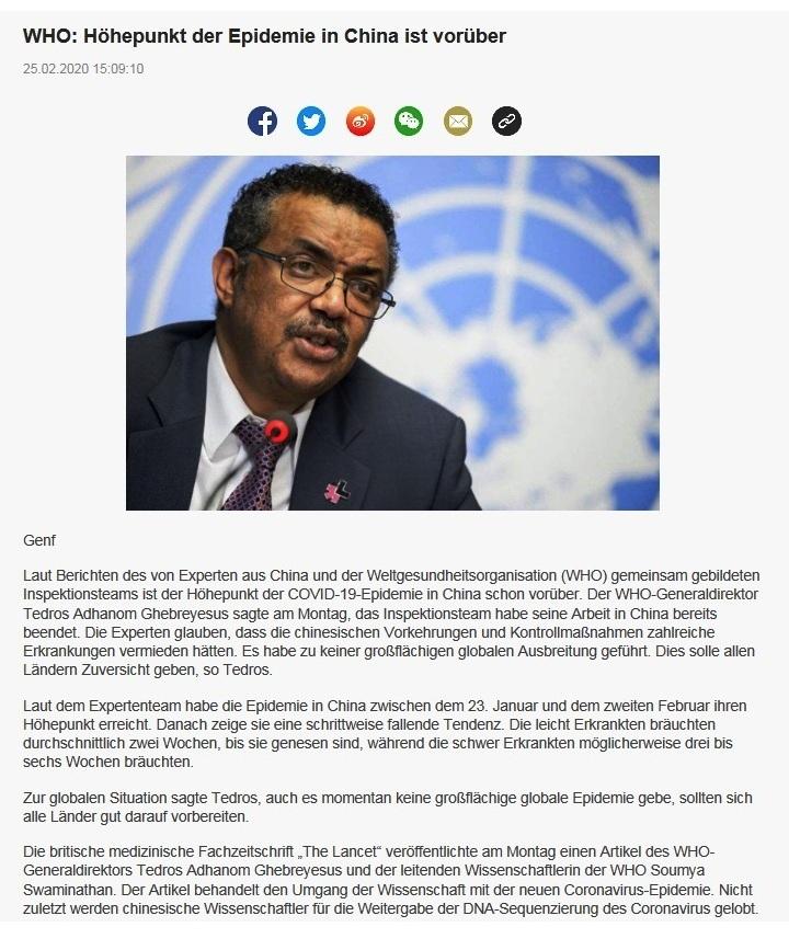 WHO: Höhepunkt der Epidemie in China ist vorüber - China Radio International - CRI online Deutsch -  25.02.2020