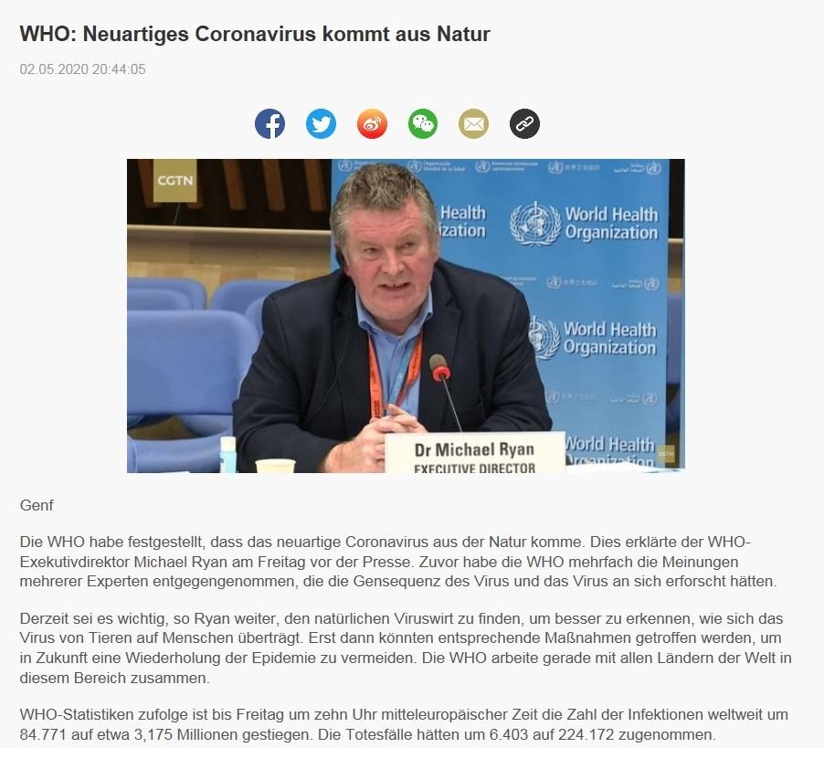 WHO: Neuartiges Coronavirus kommt aus Natur - CRI online Deutsch - 02.05.2020