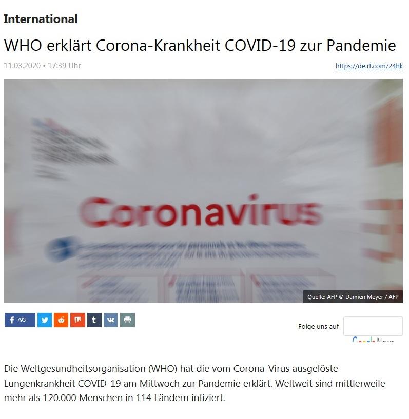 International - WHO erklärt Corona-Krankheit COVID-19 zur Pandemie - RT Deutsch - 11.03.2020