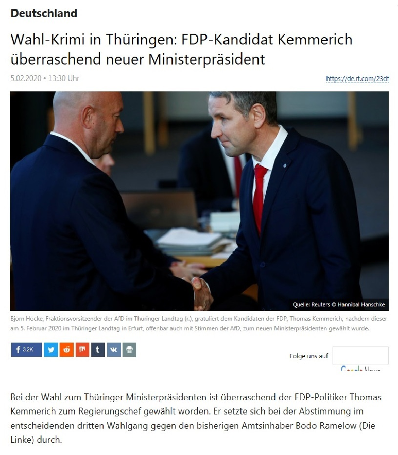Deutschland -  Wahl-Krimi in Thüringen: FDP-Kandidat Kemmerich überraschend neuer Ministerpräsident