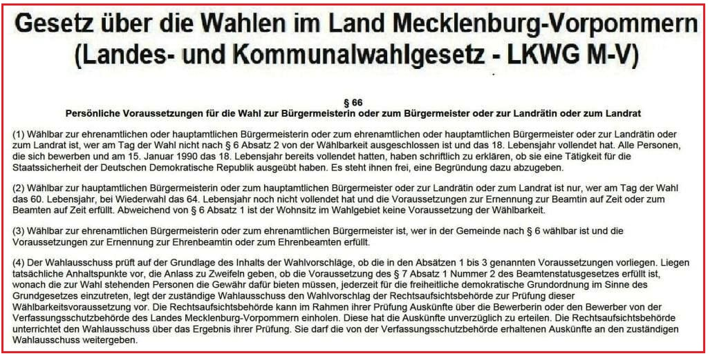 Wahlalter hauptamtliche Bürgermeisterin oder hauptamtlicher Bürgermeister oder Landrätin oder Landrat gemäß § 66 Absatz 2 des Landes- und Kommunalwahlgesetzes  im Land Mecklenburg-Vorpommern (LKWG M-V)