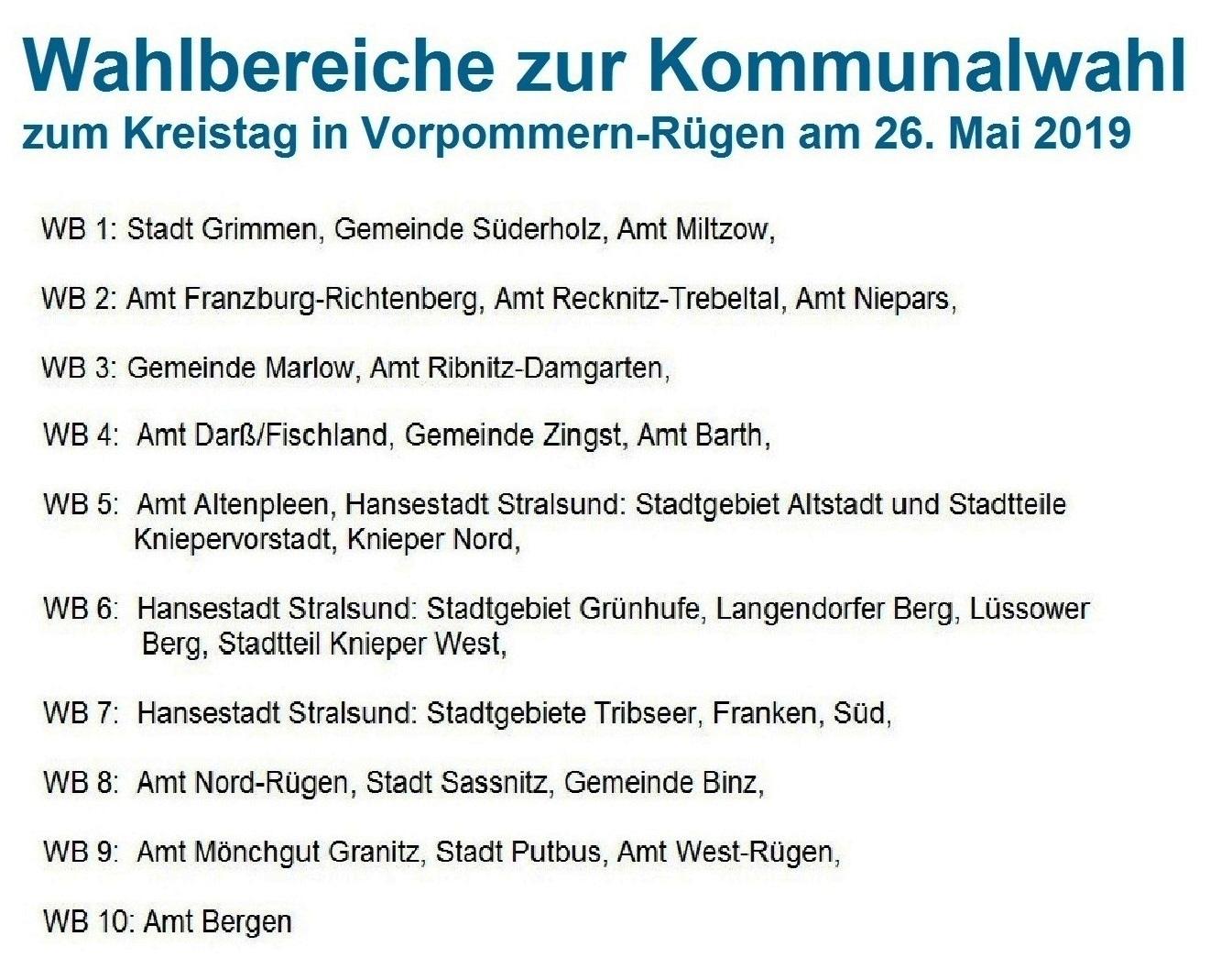 Die zehn Wahlbereiche zur Kommunalwahl am 26. Mai 2019 für den Kreistag Vorpommern-Rügen